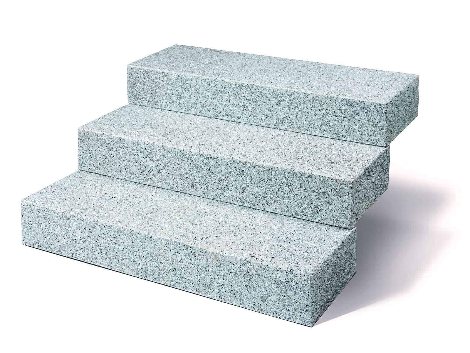 Blockstufe Granit Kristall grau