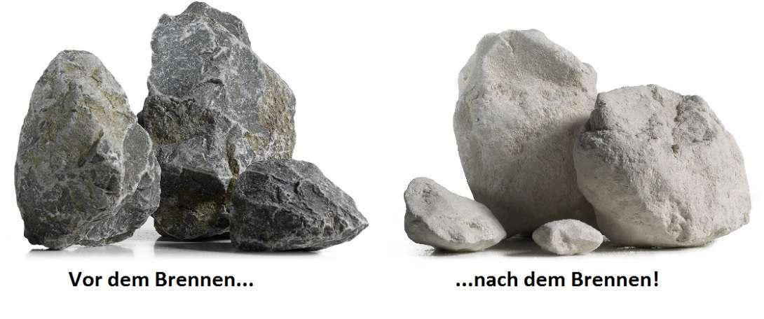 Bild von unbegranntem und gerbanntem Kalkfels. Die Farbveränderung des Kalksteins ist deutlich zu sehen.